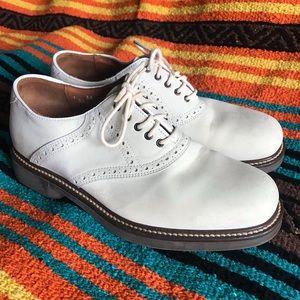 Johnston and Murphy ivory leather saddle shoes